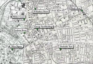 La piantina di Whitechapel del 1888 con, in verde, i luoghi degli omicidi di Jack The Ripper.
